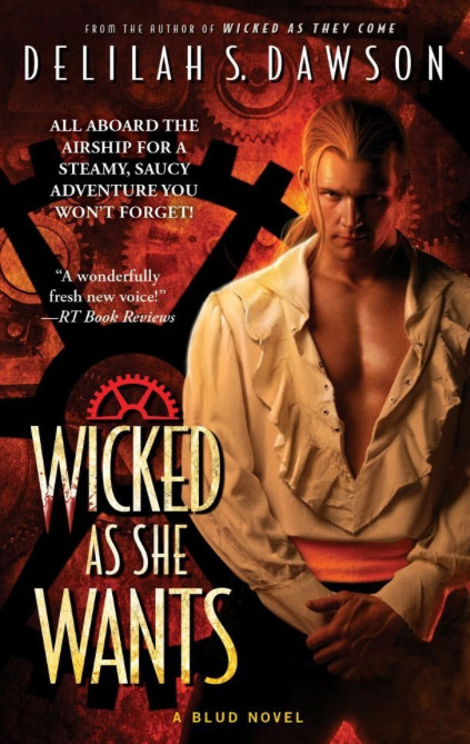 "WICKED AS SHE WANTS is now available wherever books are sold! True love's kiss isn't enough for this Blud princess. But blood and music may win her heart forever… .  Delilah S. Dawson's delightfully dark series takes readers into a clever new world of endless discoveries and sensuous encounters that will leave them breathless.  After four years crammed in a suitcase, drained and unconscious, Ahnastasia Feodor, Crown Princess of Freesia, is not sure which calls to her more: the sound of music or the scent of blood. The source of both is the handsome and mysterious Casper Sterling, once the most celebrated and self-centered musician in Sangland. Fortunately, bleeding one's subjects dry is expected of Blud royalty. Much to Ahna's frustration, however, the debauched and reckless enigma—he is definitely not a Bludman, though not exactly human either—is her only ticket back to her snow-rimmed and magical homeland. Ahna needs Casper's help to defeat an evil sorceress and claim her throne—if she doesn't drain him first. But as they team up for a harrowing journey filled with pirates and painted ladies, daimons and dashing Bludmen, her craving for blood becomes an unrelenting hunger of the heart… .  ""No sophomore series slump here, as Dawson invites readers back into the land of Sang, where Bluds (vampires) rule and Pinkies (humans) struggle to survive. Told mostly from the viewpoint of a dethroned Blud princess, Wicked as She Wants is delightfully edgy with hidden charms— and Ahnastasia is definitely no shrinking violet. Dawson is on the fast track to the top of the genre!"" -RT Book Review - 4 1/2 stars, HOT!"
