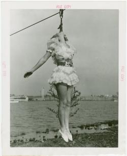 psaaok:  Aerial acts- Ginger Vess on slide. 1940. Source