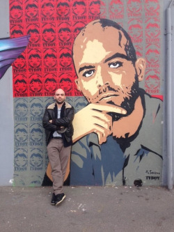 Roberto Saviano with his murales by Tvboy Via Bussola, Milan  Photo credits: Saviano's fb page