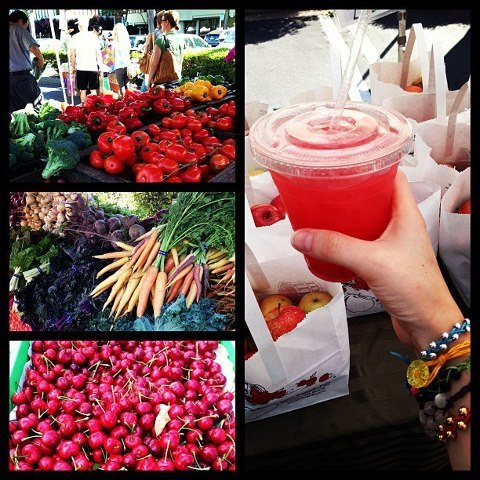 defineyourskinny:  Saturday morning farmers market and some fresh watermelon juice in hand! Such a beautiful day out! ❤☀