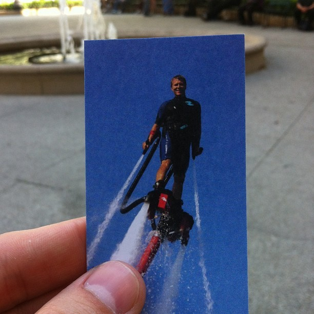 Picked up a card for Chicago FlyBoards rental & sales because I'm always looking for new ways combine my three great passions:  1. Spending money  2. Risking great bodily harm 3. Looking like a grade-A blowhole.  (at Water Tower Park)