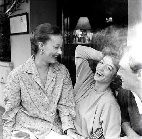frenchcinema:  Jeanne Moreau, Anouk Aimée and Maurice Ronet at the Cannes Film Festival, 1958