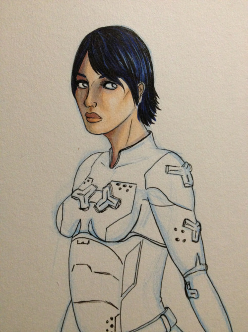 WIP copic drawing of my Spartan, who I've been calling Cas because that's my Spartan ID and I'm a massive dork. Gonna stop here for the night because I'm exhausted.