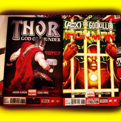 #Marvel getting all religious… #IronMan #GodKiller and #Thor #GodBomb … #talkcomics #comicbooks #comics #comicbooklegion #comicbookcrusader #godofthunder #Avengers #nerd #geek #datenight #organizecomics