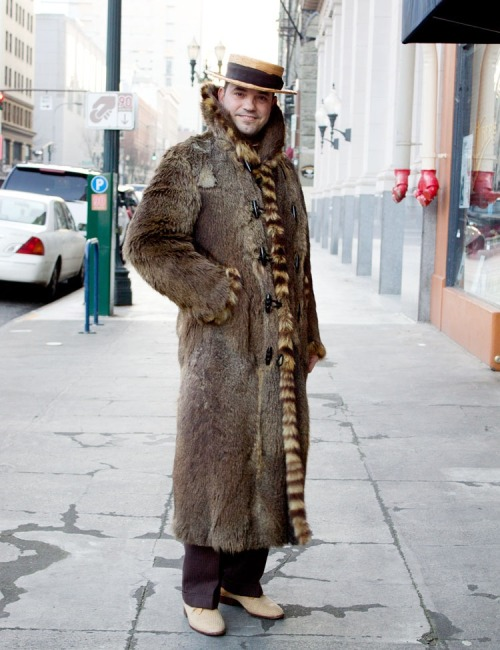 An unknown Porland man in the best vintage fur coat EVER!