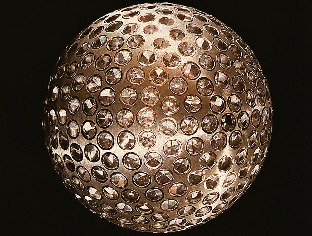 crookedindifference:  Laser Geodynamics Satellite I, 1976  The LAGEOS I, Laser Geodynamics Satellite, was launched on May 4, 1976 from Vandenberg Air Force Base, California. The two-foot diameter, 900-pound satellite orbited the Earth from pole to pole and measured the movements of the Earth's surface relative to earthquakes, continental drift, and other geophysical phenomena.The mirrored surface of the satellite precisely reflected laser beams from ground stations for accurate ranging measurements. Scientists at NASA's Marshall Space Flight Center in Huntsville, Ala. came up with the idea for the satellite and built it at the Marshall Center.    Without a doubt, this the most attractive satellite of all time. Besides the moon.