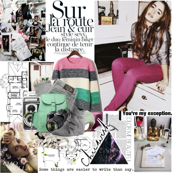 Lily Collins by mars featuring a mint green bag ❤ liked on Polyvore