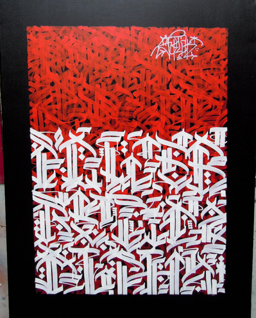 soklak77:  Compressed red & White / Acrylic on canvas/ 116x89 Soklak Elgato 2013