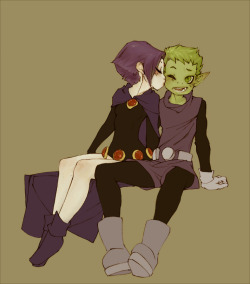 t-h-e-t-e-e-n-t-i-t-a-n-s:  Raven and Beast Boy by x