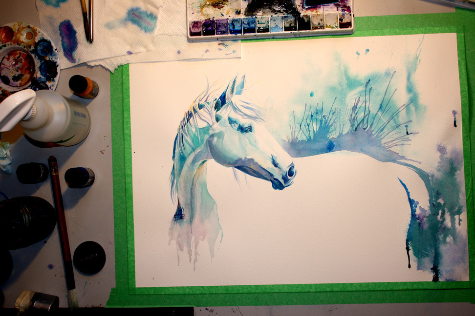 otteventer:  equineforever:  equineart:  Just a few little details left to do.  This is pretty much done.  Can I have your skills please? omg  omg i love this and the colors