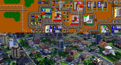 The all new SimCity is out. And I prepared a little quiz: distiguish between the vintage 1989 SimCity and the fresh 2013ish SimCity on the screenshot board above.