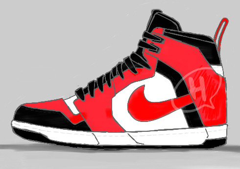"""BIG PULL"" My version of a Dunk/Jordan I hybrid, with a O.G. Big Swoosh and a hearty Pull Tab. Why the Dunk has such a baby unusable one is beyond me…"