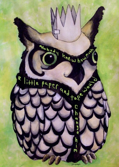 "hitrecordjoe:  hitrecord:  ""The Crafty Owl (a tiny story)"" Tiny Story REmix by brandi jeaux == Nobody knew how much a little paper and tape would change him == Metaphorest (Text & Audio Curator) writes: I love how you've incorporated your story into the image - it fits so well both visually and narratively. Very intriguing :) Nice! == Contribute your Tiny Stories HERE!  It's #TinyStories season!   Contribute to our Tiny Stories Volume 3 collaboration here!  Love this"