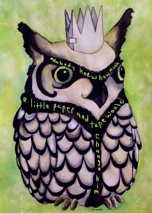 "hitrecordjoe:  hitrecord:  ""The Crafty Owl (a tiny story)"" Tiny Story REmix by brandi jeaux == Nobody knew how much a little paper and tape would change him == Metaphorest (Text & Audio Curator) writes: I love how you've incorporated your story into the image - it fits so well both visually and narratively. Very intriguing :) Nice! == Contribute your Tiny Stories HERE!  It's #TinyStories season!   Contribute to our Tiny Stories Volume 3 collaboration here!"