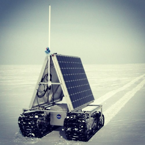 GROVER, NASA's new Earth-bound rover, began testing on the Greenland ice sheet this week. GROVER, which stands for both Greenland Rover and Goddard Remotely Operated Vehicle for Exploration and Research, is an autonomous, solar-operated robot that carries a ground-penetrating radar to examine the layers of Greenland's ice sheet. Its findings will help scientists understand how the massive ice sheet gains and loses ice.