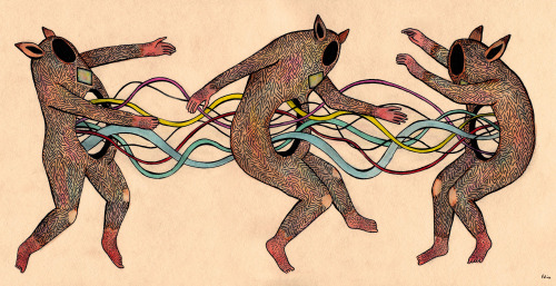 f-m-l-p:  +»»««+ Spirit Boogie  (watercolor, ink, pencil)