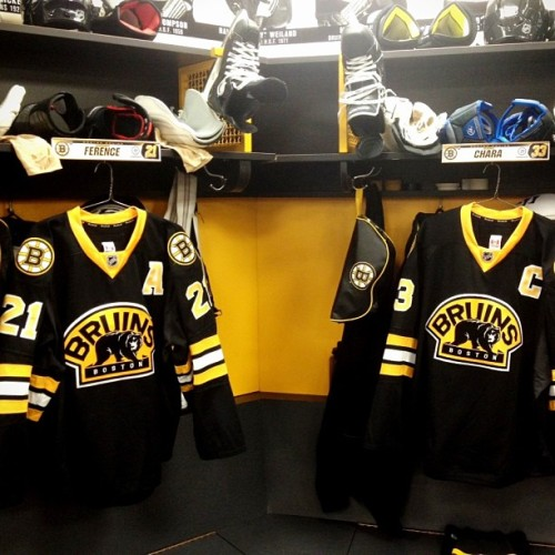 Third jerseys ready in locker room for today vs Jets. Captain Chara & Asst Captain Ference. #nhlbruins