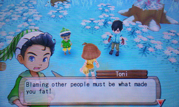 Slow your roll there, Toni. Talk like that is liable to get you slapped outta ya britches, son. Real talk, this ain't Rune Factory — the kid isn't gonna come at you with a sword or staff, on some Lord of the Rings nonsense. I got big-boy blueprints back at home for a banana-clip chopper, and you don't want to be the first dude in this Harvest Moon town to see it.  BUY Harvest Moon: A New Beginning