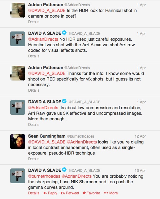 Wow, David Slade is pretty cool about answering camera questions on Twitter.