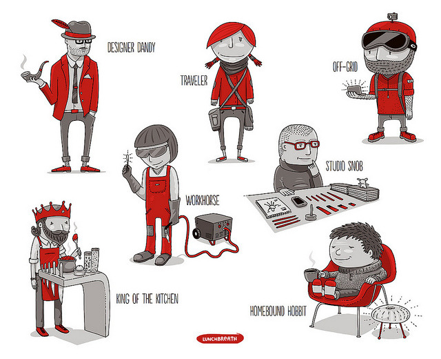 Designer Archetype Characters for Core77 Pop-Up Store by lunchbreath on Flickr.