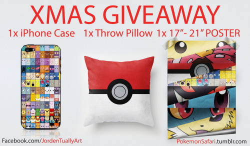 "pokemonsafari:  2 days left for the giveaway!!! Get in while you can. Remember donate $5 for clean water in Vanuatu for a better chance of winning!  CHRISTMAS GIVEAWAY!! READ CAREFULLY!!! Up for grabs is a iPhone Case, Throw Pillow and 17""x21"" Poster of your choice from my store. There will be ONE winner that takes all 3 home for Chrissy. Rules: Like my FACEBOOK PAGE/Follow Me  «< LIKE = 1 entry. REBLOG = 3 entries. DONATE = 30 entries. Here is the catch. If you donate $5 or more to help kids in Vanuatu have clean water you get 30 entries!!! If you are donating remember to donate under 'Jorden Tually' and put your name in description! DONATE HERE: http://tinyurl.com/CleanWaterForVanuatu P.S. This prize is worth $110. ONLINE STORE: http://society6.com/JordenTually Merry Christmas. Enjoy the gift of giving!"