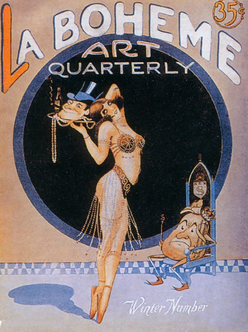 Cover of the La Boheme Art Quarterly—sexy lady en pointe while a crabby-looking… potato(?) looks on from his throne. Oh, and there's a rich guy's head on her tray. Smug and still smoking. With a beer. I'm sure I'm missing something.
