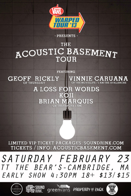 Final Acoustic Basement Tour show TONIGHT! TT the Bear's, Cambridge, MA 4:30PM 1st 50 people get a signed poster. 18+ $15 Come hang out and celebrate with us. Tickets are going fast so grab them now and come early! Tickets: http://www.ticketweb.com/t3/sale/SaleEventDetail?dispatch=loadSelectionData&eventId=3261254
