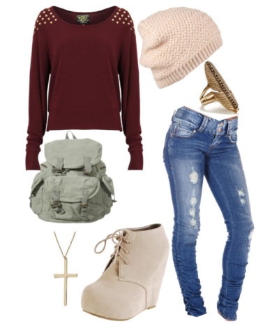 cuteoutfits-foryou:  by cuteoutfits-foryou polyvore  Not feeling the shoes. Maybe uggs instead?
