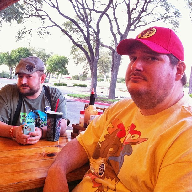 Will and Frank are not amused but their tee shirts are amusing. @whatevercove @ (at Rudy's Country Store & Bar-B-Q)