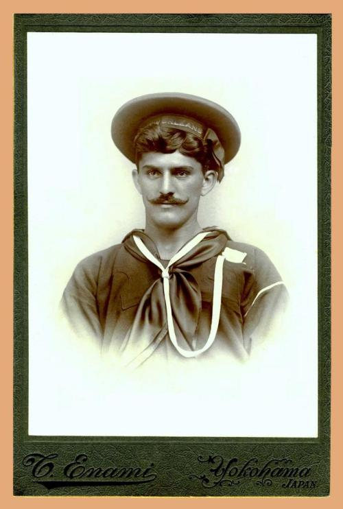 """ USS New Orleans Sailor ""  …  Portrait by Photographer: T. Enami, Yokohama [Circa 1910]"