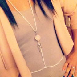 "My boo @fanciface is looking all fly rocking her ""Cross My Heart"" body chain by @brittneymirandajewelry 😁😁✈ #fashion #jewelry #ootd #accessories #handmade #pretty #pastel #girls #love #picoftheday  (at www.shoplately.com/brittneymiranda)"