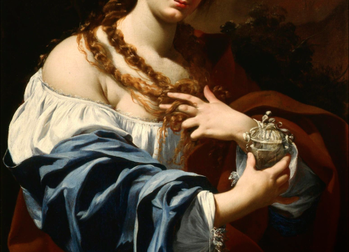 Detail of Virginia da Vezzo, the Artist's Wide, as the Magalen by Simon Vouet (1627)