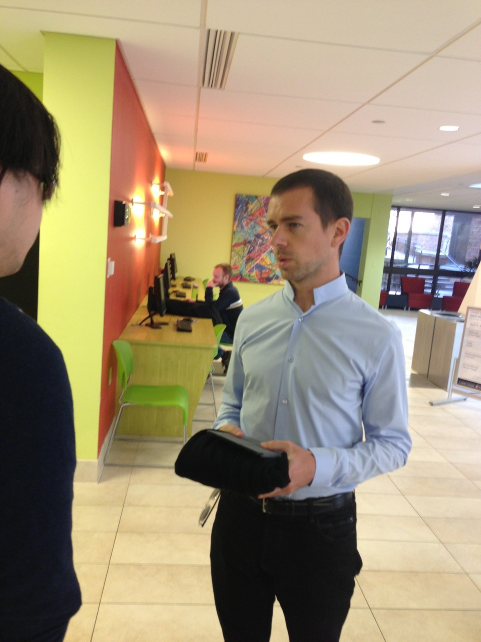 "wustlviewcgiu:  Twitter founder Jack Dorsey has arrived on campus for CGIU. First stop: Lopata Hall to speak to Patrick Crowley's class on technology entrepreneurship with engineering and business students. ""Everything I do is in service to the idea,"" Dorsey told the students."