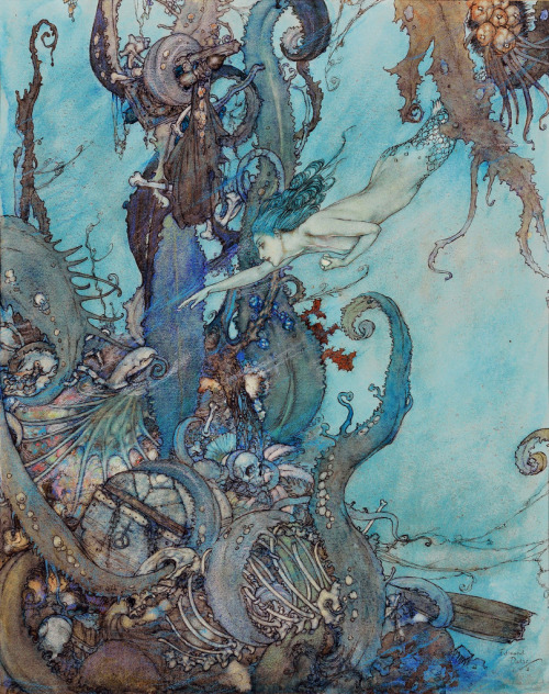"vintagegal:  Illustration by Edmund Dulac from ""The Mermaid"" in the 1911 Edition of ""Stories from Hans Andersen"" (x)"