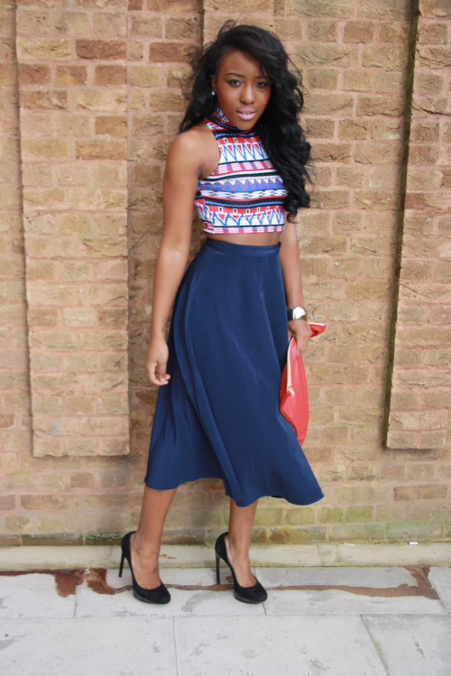 blackfashion:  Top: American Apparel, Skirt: American Apparel , Bag: American Apparel, Shoes: Kurt Geiger  Olivia Gold, 21, London www.OliviaGold.Tumblr.com Instagram : Olivia_Gold