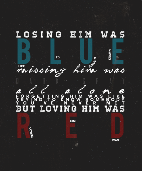 Red ▹▹▹ typography