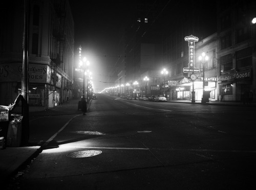 Second Avenue at Night - Seattle, Washington - 1952