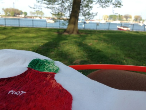 Spent today embroidering at the Lake.