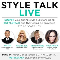 Way excited to team up with Coco Rocha, ELLE, Joe Zee & Ken Downing of Neiman Marcus for a MAJ hangout! Visit goo.gl/ebUWi for more details!
