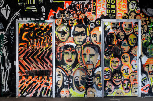 Wall of Faces at SMOG (Bard College) by Alysia Mazzella  Red Hook, New York March 2013