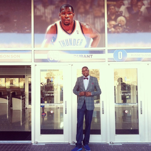 Big man on campus: Kevin Durant outside the OKC Thunder arena  for his Teen Vogue shoot. #meta Photographed by Jane Keltner de Valle.