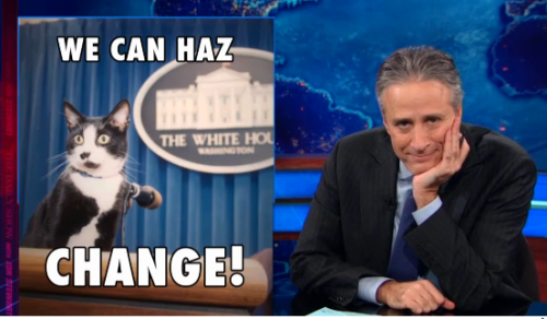 "thedailyshow:  ""Damn you, Internet, and your insatiable love of cats! I'm serious, if the presidential election for the was held online this would our new commander in chief."" http://on.cc.com/VLwsqK   Jon Stewart, Plz marry me."