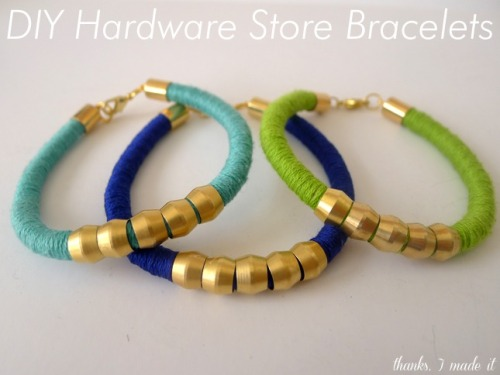 DIY hardware store bracelets from Thanks, I Made It http://www.thanksimadeitblog.com/2013/04/diy-hardware-store-bracelets.html