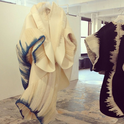 teenvogue:  Unreal knitwork on these sculptural coats by Parsons MFA student Claudia Li. Photographed by Julia Rubin.