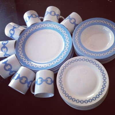 Great find today!! A #blue 29 piece #set of #JonathanAdler #HappyChic #china with chain border #design! (at The Vintage Laundry)