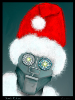 "laurajeeannegrimes:  ""Robot Santa,"" from Robots With a Hat Week. By laura grimes, using Sketch Club app for iPad."