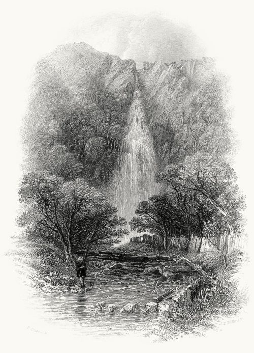 oldbookillustrations:  Powerscourt Waterfall.  T. Creswick, from Ireland picturesque and romantic, by Leitch Ritchie, London, 1837.  (Source: archive.org)