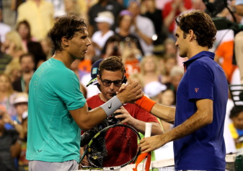 "rafaelnadalfans:  Rafael Nadal after defeating Roger Federer: ""Always it's very, very special against Roger."""