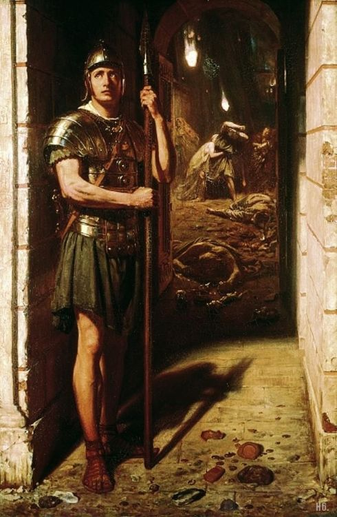 my-ear-trumpet:  haxtor:  hadrian6:  Faithful unto death. 1865. Sir Edward John Poynter. English.1836-1919. oil on canvas.       http://hadrian6.tumblr.com  Loyalty is mightier than fire.  Walker Art Gallery:  This work illustrated the epitome of devotion to duty for Victorian morals. The Roman sentry stands at his post whilst Pompeii and its citizens are destroyed by the eruption of Vesuvius in 79AD. Scattered on the ground can be seen coins and other valuables, whilst in the background people try to save themselves and their possessions from the debris. Despite this and his obvious trepidation, the soldier still stands firm. Poynter's source was the excavation at Pompeii of the remains of a soldier in full armour. This was used as the basis for an imaginary incident in Bulwer-Lytton's popular historical novel 'The Last days of Pompeii'.