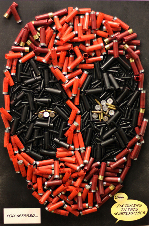 laughingsquid:  Deadpool's Head Recreated Using Bullets & Shotgun Shells  Hey, Lizzie, a thing.